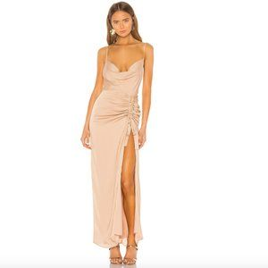 NBD   NWT Davis Gown in Nude cowl neck ruched M